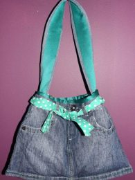 Polka Denim Skirt Handbag