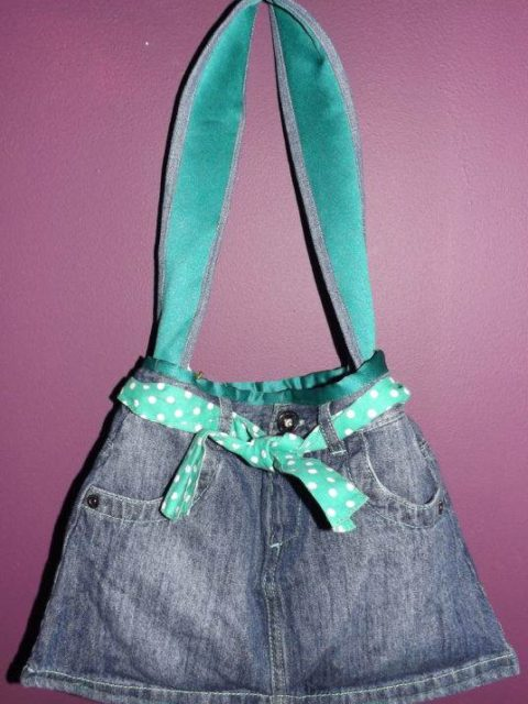 Polka Denim Skirt Handbag