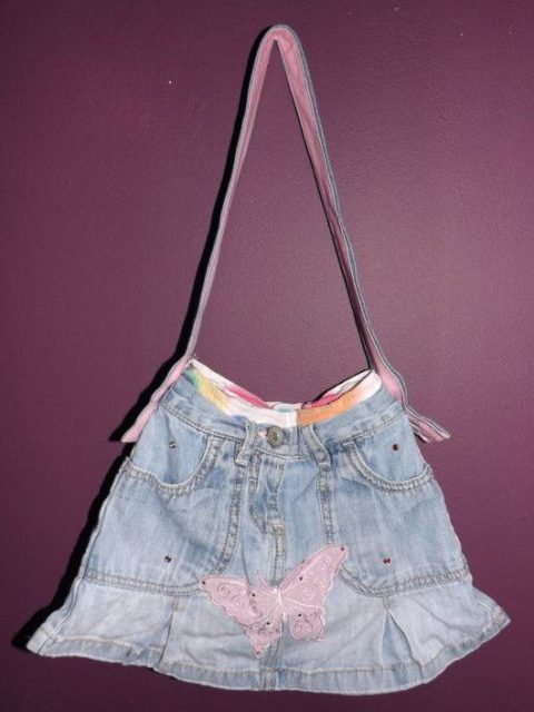 Butterfly Denim Skirt Handbag