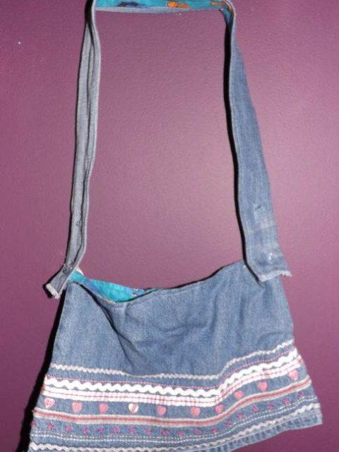 Pattern Denim Skirt Handbag