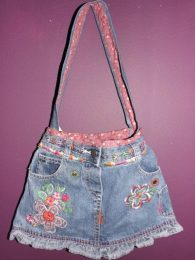 Flower Denim Skirt Handbag